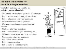 Senior Hr Manager Resume Sample by Senior Hr Manager Interview Questions