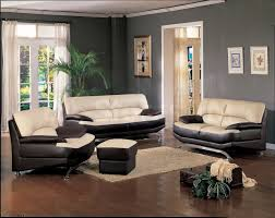 White Furniture For Living Room Black And Cream Leather Couch On Dark Brown Wooden Floor Completed