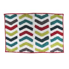 Multi Colored Bathroom Rugs Mainstays Chevron Multi Bath Rug Walmart Com