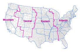 Time Change Map Usa Time Zone Map With States With Cities With Clock With Time In