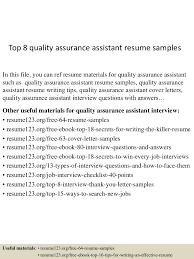 Best Resume Format For Quality Assurance by Top8qualityassuranceassistantresumesamples 150516014956 Lva1 App6891 Thumbnail 4 Jpg Cb U003d1431741043
