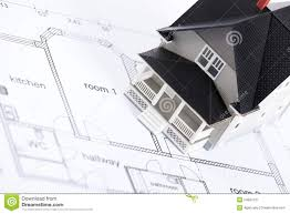 House Architectural Construction Plan With House Architectural Model Royalty Free