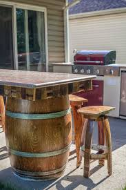 backyard wine barrel bar with granite counter tops como bungalow