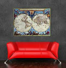 high quality world map oil painting canvas vintage poster for home