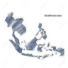 Southeast Map Southeast Asia Map Hand Drawn Background Royalty Free Cliparts