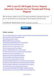 1991 lexus es 250 engine service manual automatic transaxle
