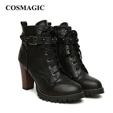 high heel motorcycle boots aliexpress com buy cosmagic 2017 new winter women black high