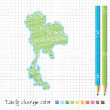 Map Grid Thailand Map Sketch With Color Pencils On Grid Paper Stock Vector