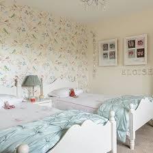Girls Twin Bedroom With Bird Wallpaper Childrens Room - Girls bedroom wallpaper ideas