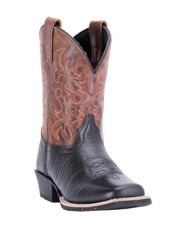 Dan Post Little River Childrens 8 Black/Rust Western Cowboy Boot 2 D Black Brown