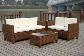 Patio Furniture Set Outdoor Patio Wicker Sofa Set 5pc Pe Rattan Rushreed 3 Piece