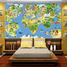 Kids World Map Online Get Cheap Wallpaper Mural World Map Kids Aliexpress Com