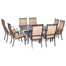 hanover manor 9 piece square patio dining set mandn9pcsq the hanover manor 9 piece square patio dining set