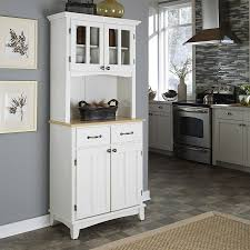 shop home styles white natural kitchen hutch at lowes com