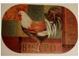 rooster cafe bistro placemats set set of 4 oval placemats