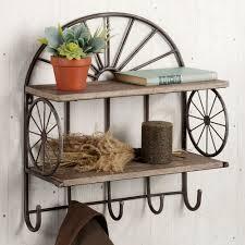 open range western wall shelf with hooks