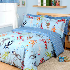 Monkey Crib Set Amazon Com Cartoon Monkey Duvet Cover Set Sky Blue Boys Bedding