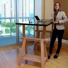 create ikea trestle into an adjustable standing desk lifehacker
