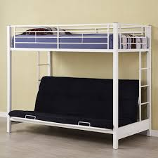 Twin Over Futon Bunk Bed Plans by Twin Over Futon Premium Metal Bunk Bed White Kids U0026 Teen Rooms