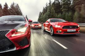 lexus v8 turbo conversion giant test ford mustang vs lexus rcf vs bmw m4 triple test review