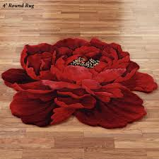 Round Bathroom Rugs by Scarlet Magic Peony Flower Shaped Round Rugs