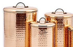 canister set copper 4 piece canisters lids metal flour sugar
