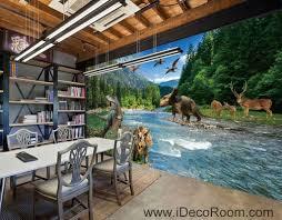 3d jurassic world dinosaur river mountain business wallpaper wall
