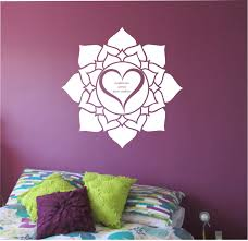 lotus wall decal heart mandala quote sticker art decor bedroom