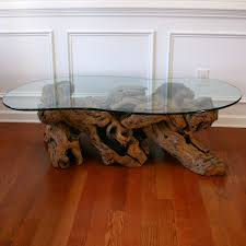 old crate and barrel driftwood coffee table with glass top for