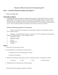 chemistry midterm exam review sheet
