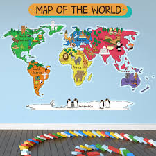 Kids World Map Animal World Map Wall Sticker World Map Wall Decal Kids Bedroom