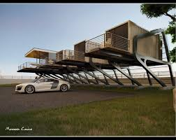 live above ground in a container house with a balcony great idea