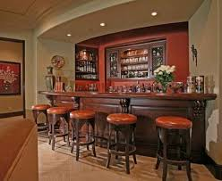 Home Bar Interior Design Classic Style Home Bar With Dark Wooden Bar Table And Round