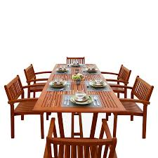 Wood Patio Furniture Sets - shop vifah malibu 7 piece natural wood eucalyptus dining patio