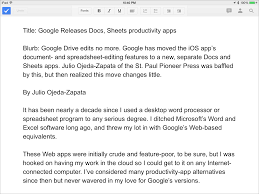 Ipad Spreadsheet New Google Docs Sheets Apps Aid Mobile Collaboration Tidbits