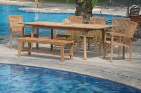 Wholesale Patio Dining Sets by Wholesaleteak 7 Piece Grade A Teak Outdoor Dining Set With Bench