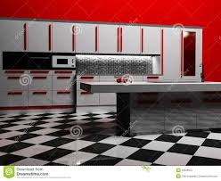 modern kitchen interior in white and red color royalty free stock