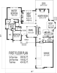 10 000 Square Foot House Plans 2 Story House Floor Plans 6 Bedroom Craftsman Home Design With