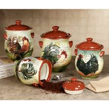 Country Canister Sets For Kitchen Rooster Rooster Kitchen Decor Country Kitchen Rooster Theme