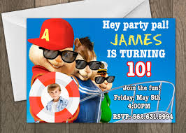 Birthday Invitation Cards For Kids Printed Alvin And The Chipmunks Birthday Invitation Kids