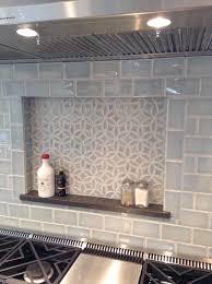 Julep Tile Company Bloom Pattern And Subway Field Tile In Sky - Crackle subway tile backsplash
