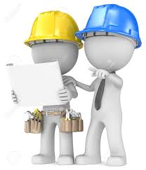 building project planning dude the builder with contractor looking