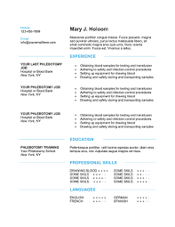 Job Duties On Resume by Download 10 Professional Phlebotomy Resumes Templates Free