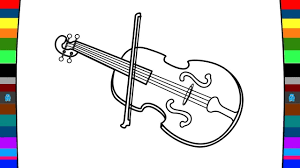 musical instrument coloring page how to draw a violin drawing
