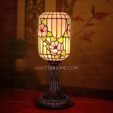 Asian Style Table Lamps Cylinder Glass Shade Tiffany Style Table Lamp