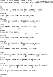 Home On The Range by Country Music Home On The Range Gene Autry Lyrics And Chords