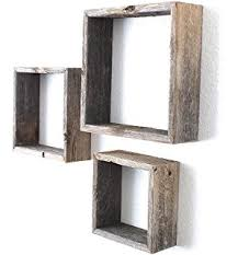 Floating Box Shelves by Amazon Com Wall Mounted Torched Natural Brown Wood Interlocking