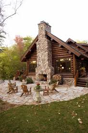 Log Cabin Area Rugs by Log Cabin With Outdoor Fireplace Rustic Western Decor