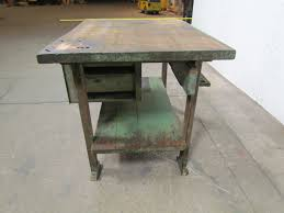 vintage industrial butcher block workbench kitchen island 48