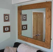 unique simple wooden wall mirror for living room home depot